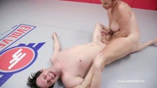 Bella Rossi Gives Handjob in Mixed Nude Wrestling Fight to Marcelo Then Strapon Fucks Him