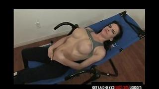Exercising Brunette Gets Aroused